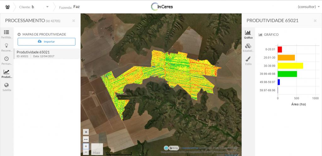 De maneira simples e rápida, a plataforma InCeres carrega e processa os mapas de produtividade.
