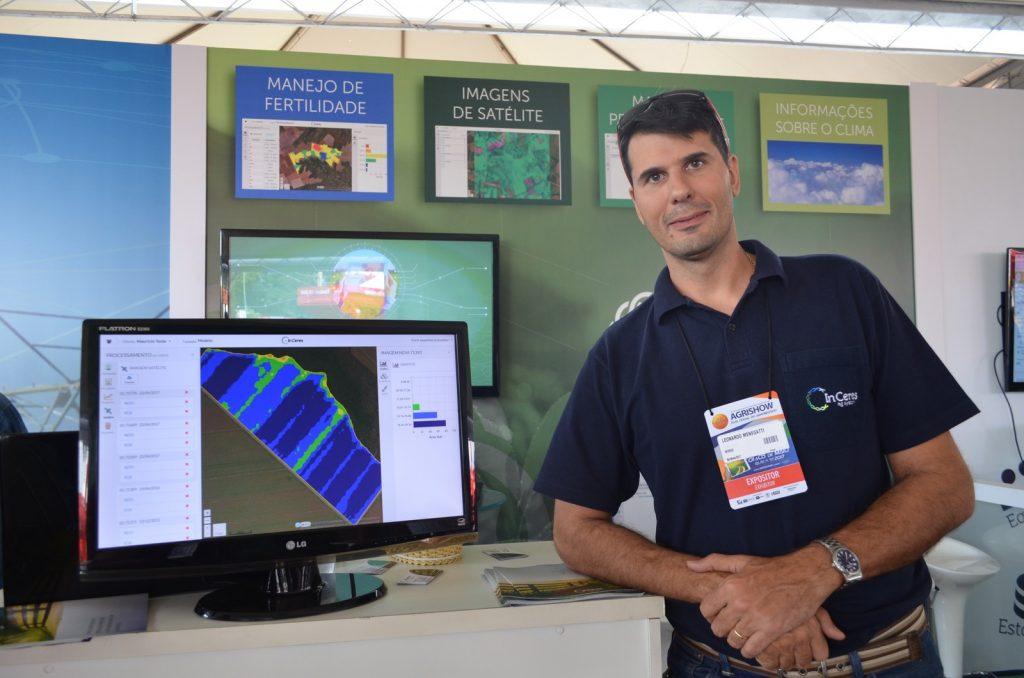 Leonardo Menegatti, CEO da InCeres, no espaço da empresa dentro do Fazenda Inteligente - Agrishow 2017